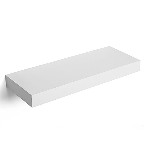 SONGMICS Floating Wall Shelf 15.7 inch, Easy Install for Decorative Display Corner Invisible Bracket Support, White ULWS14WT