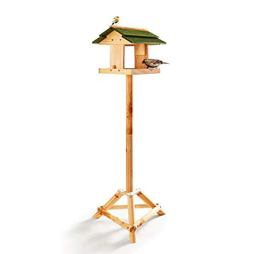 Skojig© Vogelhaus aus Holz inkl. Ständer ca. 117x30x26cm |Bausatz Vogelhäuschen für Vogelfutter - Futterhaus Vogelfutterstation - Schutz bei Schnee & Regen | Futterstelle Vogelfutterhaus