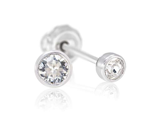 Avonlea Jewelry Earrings for Girls Made in USA - Polished Titanium 4 MM Crystal Bezel Set Piercing Earring Studs - in Sterile Packaging - Hypoallergenic for Sensitive Ears (Clear Crystal)