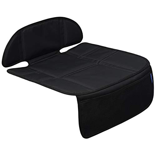 INFANZIA Car Seat Protector with Thickest Padding - Auto Seat Cover Mat for Baby Child Car Seats, Waterproof 300D Fabric, PVC Leather Reinforced Corners & 2 Large Pockets for Handy Storage