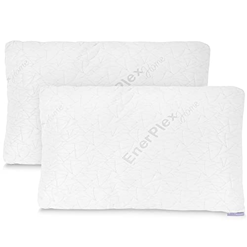 EnerPlex Memory Foam Pillows for Sleeping - Set of 2 King Cooling Pillow for Back, Stomach and Side Sleepers - Adjustable w/ Removable Cover - Luxury Bed Pillows & Positioners