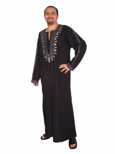 Egypt Bazar Moderner Herren-Kaftan, schwarz/Silber (XL)