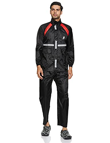 Amazon Brand – Symactive Water Resistant Polyester Rain Coat with Pant, Black, X-Large