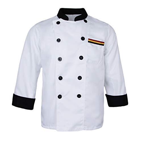 chiwanji Kochjacke Langarm Bäckerjacke Hotel Restaurant Küche Koch Arbeitskleidung Gastronomiejacke - Weiß, XL