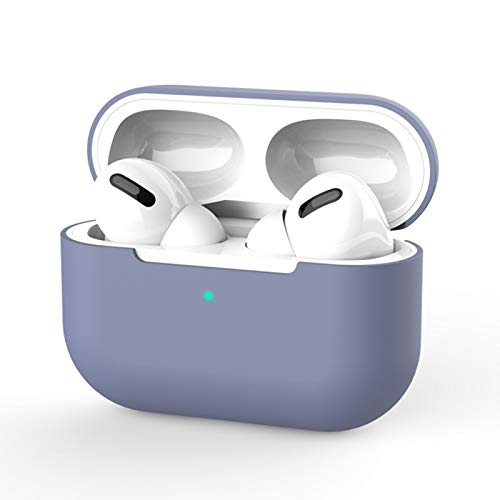 Compatible with Airpod Pro Cases, Silicone Protective Cover for Airpod Pro Case-Green (Lavender Grey)