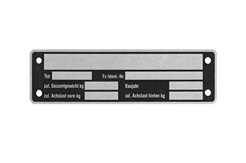 5 x Blanko Typenschild Anhängertypenschild Neutral Anhänger