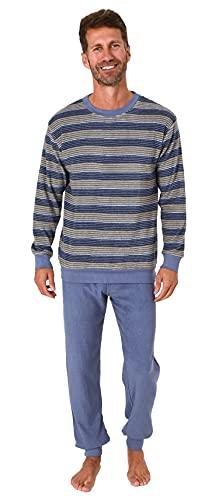 Herren Frottee Pyjama Schlafanzug lang mit Bündchen in Streifenoptik - auch in Übergrössen, Farbe:gelb, Größe:52