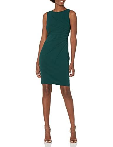 Calvin Klein Women's Sleeveless Sheath Dress with Starburst Detail, Deep Malachite, 6