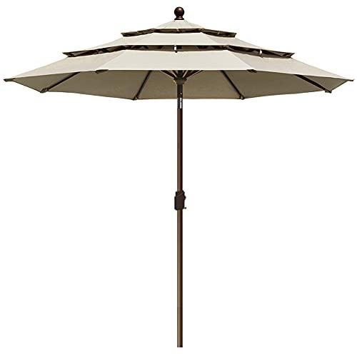 EliteShade Sunbrella 9Ft 3 Tiers Market Umbrella Patio Outdoor Table Umbrella