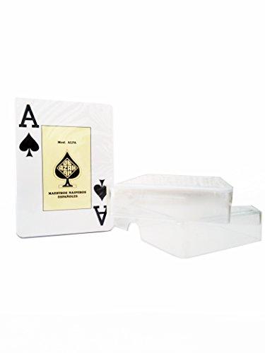 Maestros Naiperos- Alfa baraja Poker, Jumbo, 55, Cartas, Estuche de plástico, Calidad Gran Casino, Color Azul y Rojo (envío Aleatorio) (130003092)