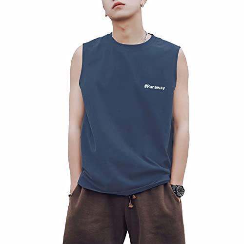 VATICON Tシャツ メンズ タンクトップ 夏 ノースリーブ クルーネック tシャツ ブラウス 無地 薄手 コットン ヒップホップ シンプル ゆったり トレンド 4色