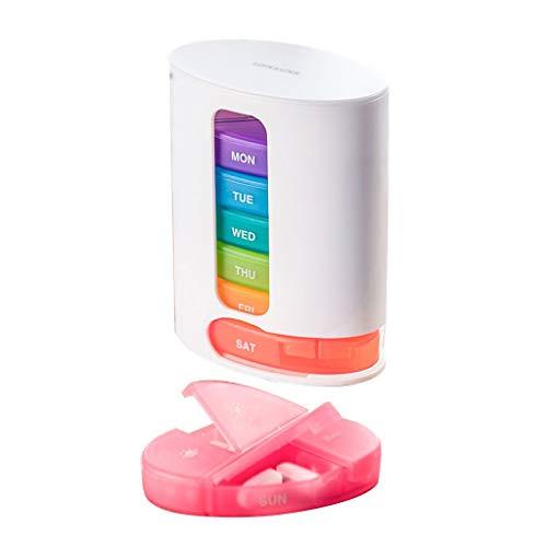 MJJX Pillendoos geneeskunde draagbare regenboogverpakking bewaarweek pillendoos reis vochtbestendig grote capaciteit