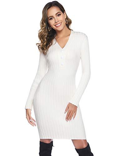Hawiton Damen Pulloverkleid mit V-Ausschnitt Zierknöpfen Strickkleid Elegante Wollkleid Einfarbige Winterkleid Trendy Kleid Langärmeliges Kleider für Herbst Winter, Weiß, M