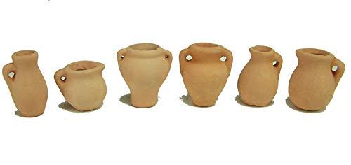 Kimmerle 6 Miniatur Vasen aus rotem Ton. Höhe 2,5-3,3 cm. Zubehör für Weihnachtskrippen