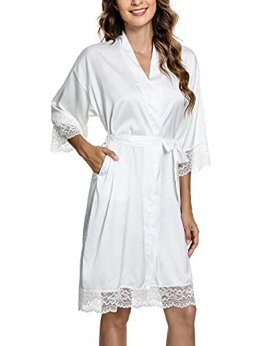 CMTOP Bata Mujer Seda Satén Corto Kimono Bata Pijama Vestido de Encaje Ropa de Dormir Suave Talla Grande Albornoces para Mujer Novia Dama de Honor(blanco,XL)