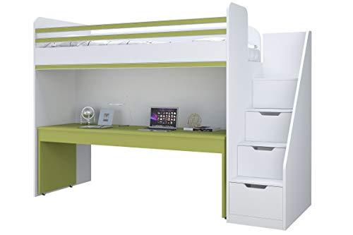 Polini City Hochbett Kombination mit Treppe und großem Schreibtisch grün