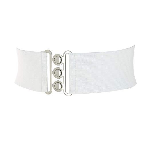 FASHIONGEN - Cinturón Ancha Elástico para mujer GLORIA - Blanco, Large / 40 a 43