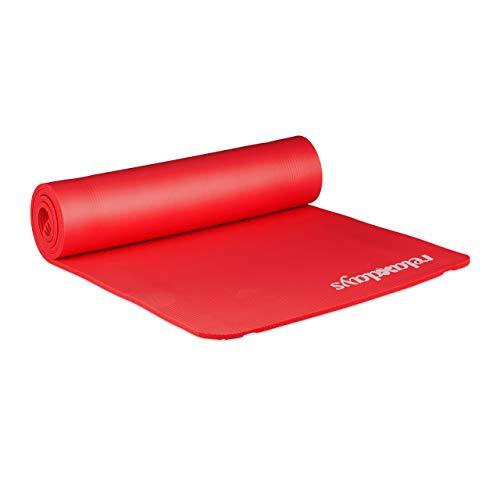Relaxdays Unisex– Erwachsene Yogamatte, 1 cm dick, für Pilates, Fitness, gelenkschonend, mit Tragegurt, Gymnastikmatte 60 x 180 cm, rot