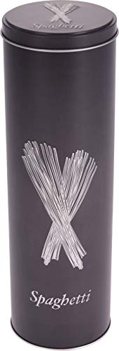 Barattolo rotondo metallo pasta. Latta per spaghetti.