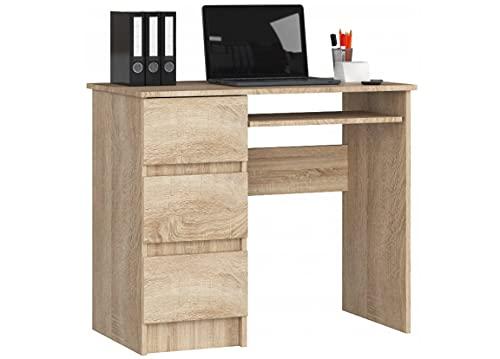 Escritorio de ordenador con 3 cajones y un cajón extraíble para el teclado. Un escritorio para un ordenador de sobremesa o portátil, escuela y escritorio juvenil 90x77x50
