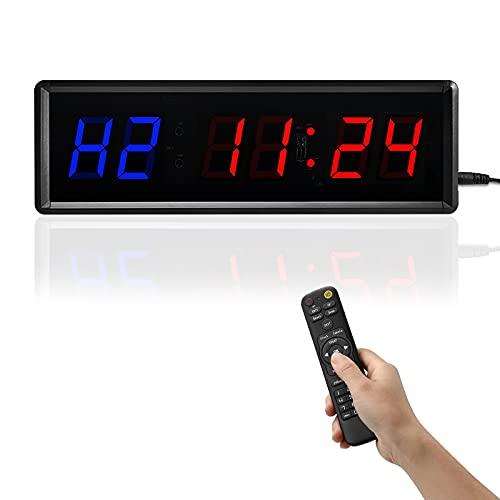 1.5in Temporizador de intervalo LED, Temporizador de ejercicios de gimnasio Contar / subir Reloj Temporizador Cronómetro con control remoto para entrenamientos de ejercicios para el hogar Yoga MMA HII