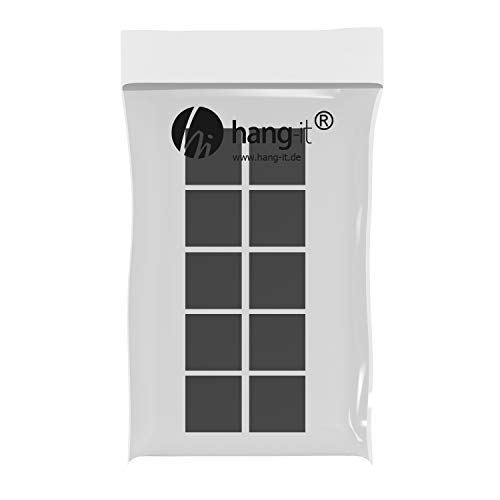 hang-it Wandpuffer in Schwarz - Set 10 Stück Abstandshalter aus Schaumstoff - selbstklebend - 20mm x 13mm