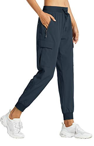Libin Women's Cargo Joggers Lightweight Quick Dry Hiking Pants Athletic Workout Lounge Casual Outdoor, New Navy M