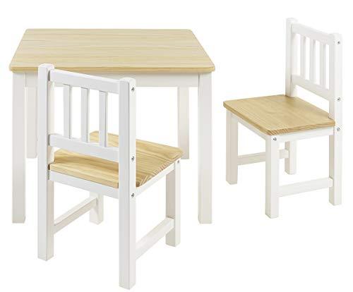 BOMI Stabile Kindersitzgruppe Amy 2 Stühle u. Tisch aus Kiefer Massiv Holz für Kleinkinder, Mädchen und Jungen Natur Weiß