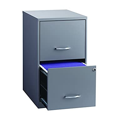 Office Dimensions 18  Deep 2 Drawer Metal File Cabinet, Gray