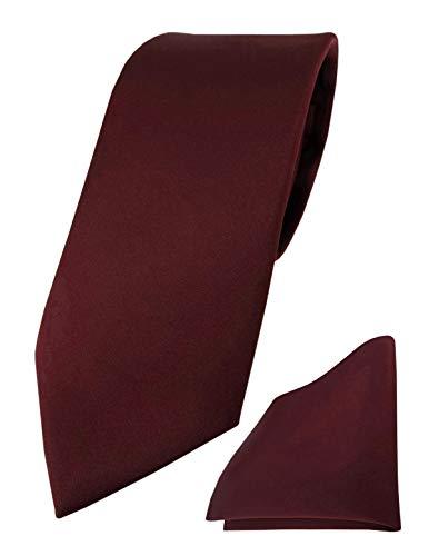 TigerTie Designer Krawatte Einstecktuch in weinrot einfarbig uni
