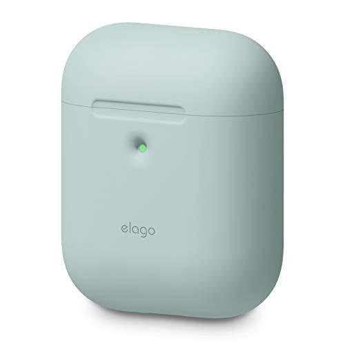 elago A2 Funda de Silicona Compatible con Audífonos Apple AirPods 2 inalámbricos (LED Frontal Visible) - Soporta Carga inalámbrica, Protección Adicional (sin Mosquetón, Baby Mint)