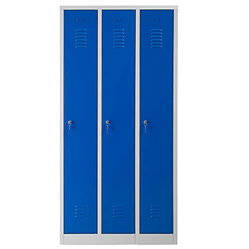 Certeo Garderobenspind | HxBxT 180 x 90 x 50 cm | Zylinderschloss | Grau-Blau | Garderobenspind Umkleidespind Spind Schrank Abschließbar