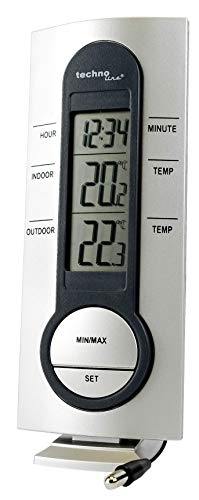 Technoline Wetterstation WS 7033 mit Kabelsonde, Uhrzeitanzeige sowie Innen- und Außentemperaturanzeige