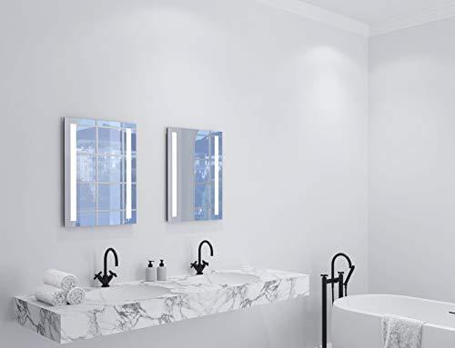 Badspiegel mit Beleuchtung Talos 50004 River- Badezimmerspiegel in 50 x 70 cm - Badspiegel LED mit hinterleuchteten Lichtausschnitten und Anti-Beschlag Funktion