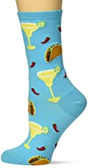 The best combination for any day on these margaritas and tacos socks! 51% Cotton 27% Polyester 20% Nylon 2% Spandex Fits women's shoe size 4-10.5 Machine wash cold, inside out. Only non-chlorine bleach when needed. Tumble dry low. Do not iron. One pa...