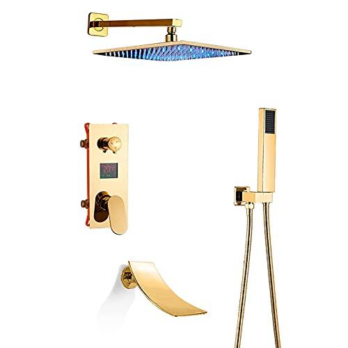 GLXLSBZ Sistema de Ducha LED con Pantalla Digital Juego de grifos de Ducha Dorados con caño de bañera en Cascada Mezclador de Lluvia Juego Combinado de Ducha con (Baño doméstico)
