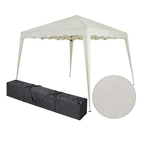 Faltbarer Pavillon 3x3m inkl. Tasche | wasserabweisend, UV 50+ Schutz | Pop Up Zelt, Faltpavillon Gartenzelt, Partyzelt, Capri (Creme)