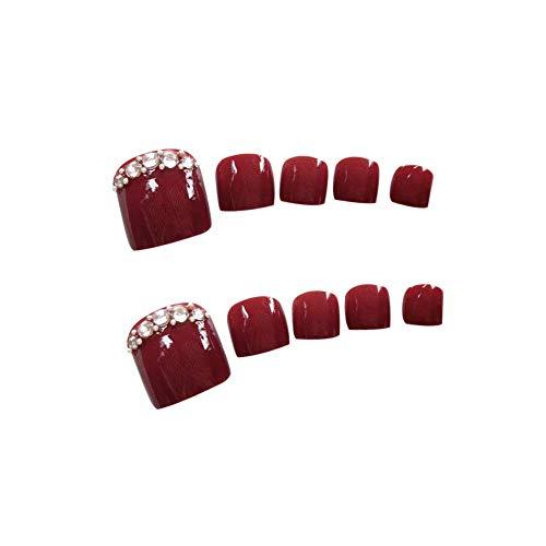 Ogquaton Premium Qualité 24 Pcs fille DIY Pied Décor Vin Rouge Ongle De Ongle Autocollant Faux Ongles Astuce Art Décoration