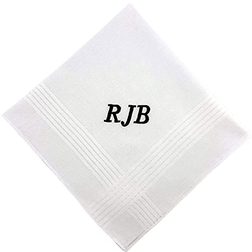 Monogrammed Handkerchief for Men Father's Day Gifts For Him Cotton Men's Initial Letter Hanky Groom Wedding Hankerchief Personalized Pocket Square