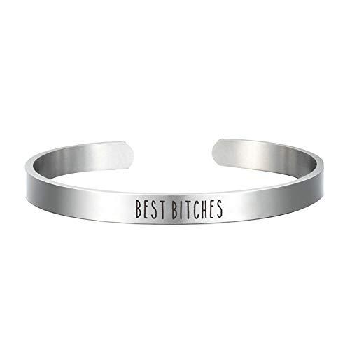 Edelstahl Armband Silberne Farbe Armreifen Handgelenk Manschette Geschenk Freundschaft Armband (Best Bitches)