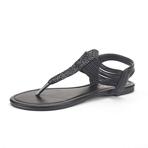 DREAM PAIRS Spparkly Women's Elastic Strappy String Thong Ankle Strap Summer Gladiator Sandals Black Size 8