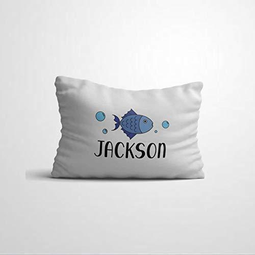 Funda de almohada personalizada para niños con nombre, diseño de peces náuticos, agua para niños y niñas, funda de almohada para dormitorio, funda de cojín de 30,5 x 50,8 cm