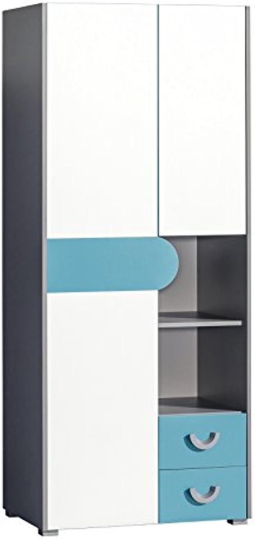 SMARTBett Kleiderschrank Futuro mit 2 Türen und 2 Schubladen Türkis Brillantwei