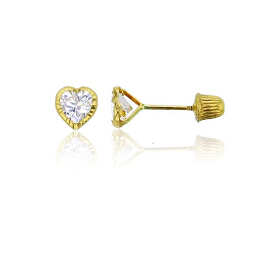 14K Yellow Solid Gold Diamond Cut 4mm Heart Bezel with Hat Screw Back Stud Earrings | Yellow Gold | 4x4mm | Stud Earrings | Heart Bezel Stud Earrings | Solid Gold Stud Earrings for Women and Girls
