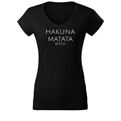 Hakuna Matata Ladies Fashion Shirt Leichter Oversize Tanktop Cooler Schnitt mit Motiv und Spruch (95 Vneck Schwarz XL)