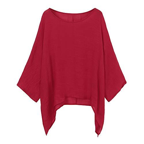 VEMOW Blusas Mujer Tops Damas de Mujer Camisetas Casual Talla Grande Algodón Lino Suelto Blusas de Color sólido Camisa(Rojo,5XL)