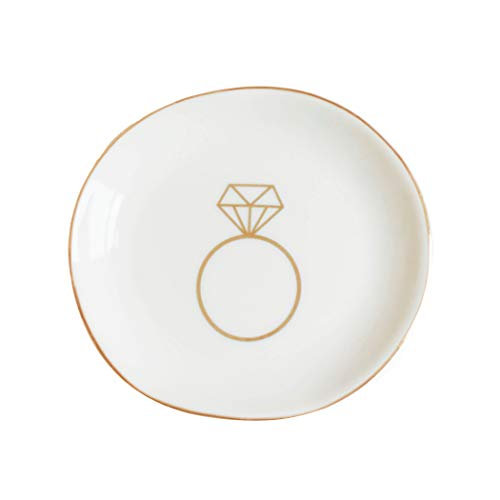 Sweet Water Decor Ring Jewelry Dish Tray | Great for Her Engagement Engaged Ring Dish Holder Bride Ring Holder Gold Ceramic Trinket Tray Wedding Accessories