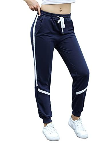 Doaraha Pantalones Deporte Mujer Pantalones Chandal Pantalones Deportivos de Raya Pantalones Jogger para Running,Fitness,Yoga(Negro)