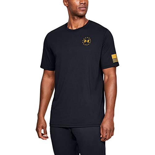 Under Armour Men's Freedom Flag T-Shirt, Black (003)/Steeltown Gold, Large