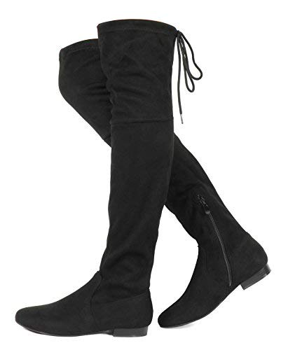 DREAM PAIRS Women's Pauline Black Faux Suede Over The Knee Boots Size 7 M US